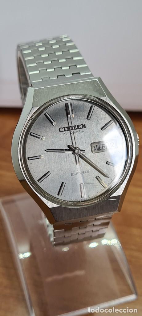 Relojes - Citizen: Reloj caballero (Vintage) CITIZEN automático acero con doble calendario a las tres, correa de acero - Foto 3 - 279441048