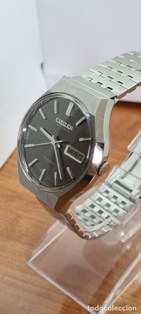 Relojes - Citizen: Reloj caballero (Vintage) CITIZEN automático acero con doble calendario a las tres, correa de acero - Foto 4 - 279441048