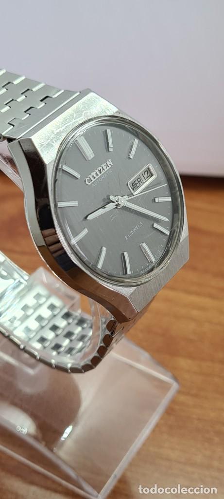 Relojes - Citizen: Reloj caballero (Vintage) CITIZEN automático acero con doble calendario a las tres, correa de acero - Foto 11 - 279441048