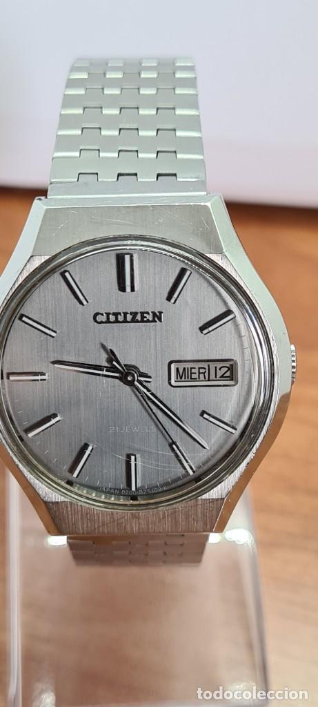 Relojes - Citizen: Reloj caballero (Vintage) CITIZEN automático acero con doble calendario a las tres, correa de acero - Foto 18 - 279441048