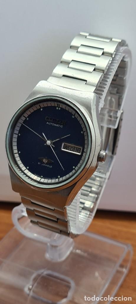 Relojes - Citizen: Reloj caballero (Vintage) CITIZEN automático acero con doble calendario a las tres, correa de acero - Foto 2 - 280209653