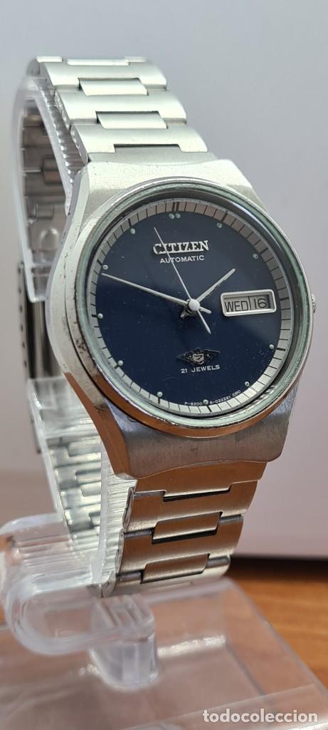 Relojes - Citizen: Reloj caballero (Vintage) CITIZEN automático acero con doble calendario a las tres, correa de acero - Foto 3 - 280209653