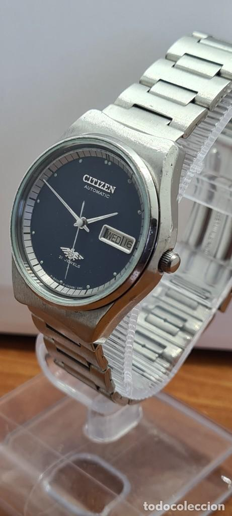 Relojes - Citizen: Reloj caballero (Vintage) CITIZEN automático acero con doble calendario a las tres, correa de acero - Foto 4 - 280209653