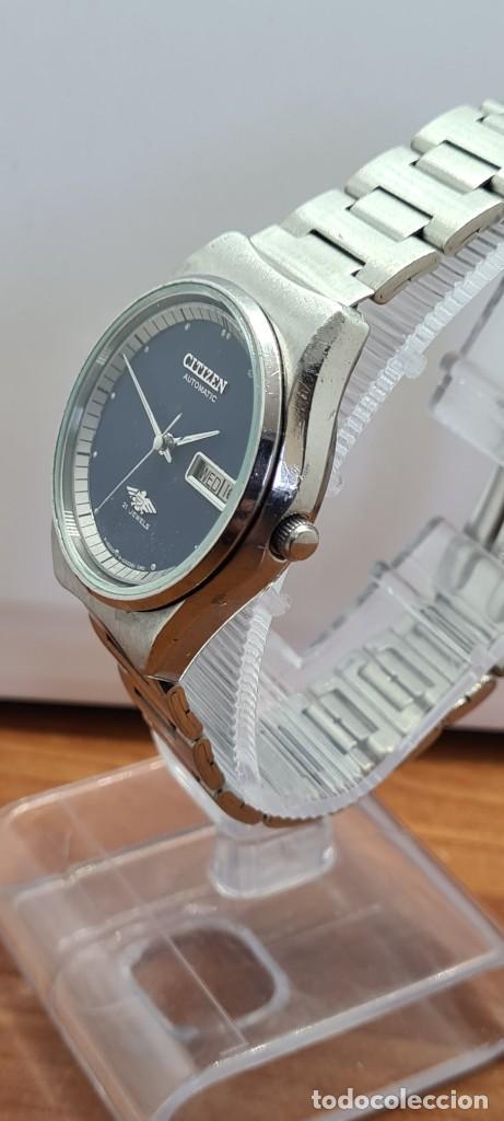 Relojes - Citizen: Reloj caballero (Vintage) CITIZEN automático acero con doble calendario a las tres, correa de acero - Foto 6 - 280209653