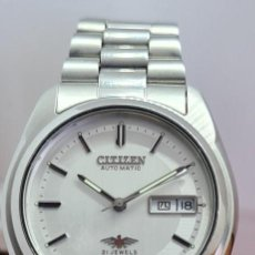 Relojes - Citizen: RELOJ CABALLERO (VINTAGE) CITIZEN AUTOMÁTICO ACERO, ESFERA BLANCA, DOBLE CALENDARIO, CORREA ORIGINAL. Lote 284098878