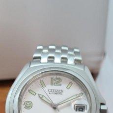 Relojes - Citizen: RELOJ (VINTAGE) CITIZEN AUTOMÁTICO ACERO CON MÁQUINA VISTA, ESFERA BLANCA, CALENDARIO, CORREA ACERO.. Lote 284402723