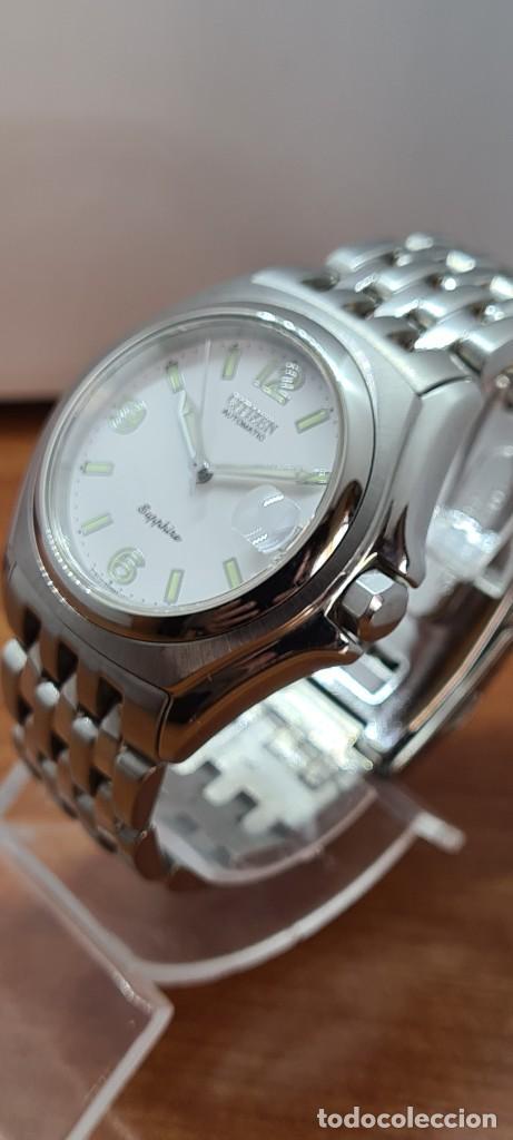 Relojes - Citizen: Reloj (Vintage) CITIZEN automático acero con máquina vista, esfera blanca, calendario, correa acero. - Foto 5 - 284402723