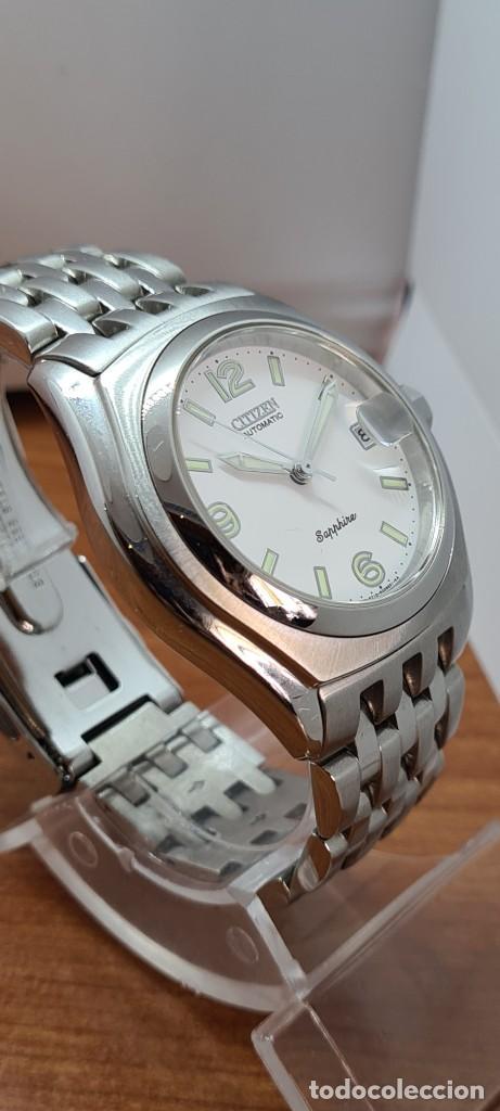 Relojes - Citizen: Reloj (Vintage) CITIZEN automático acero con máquina vista, esfera blanca, calendario, correa acero. - Foto 6 - 284402723