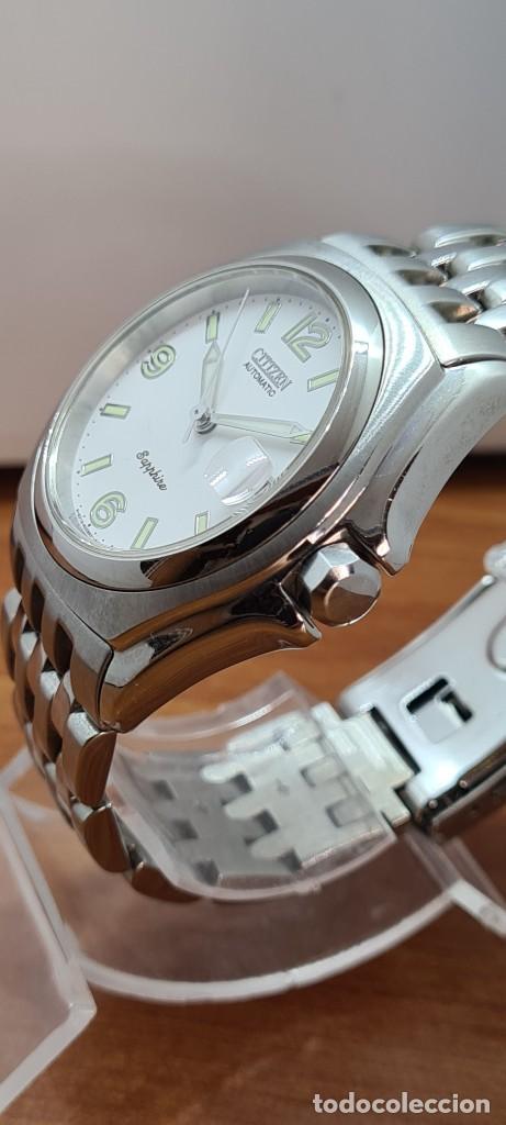 Relojes - Citizen: Reloj (Vintage) CITIZEN automático acero con máquina vista, esfera blanca, calendario, correa acero. - Foto 7 - 284402723