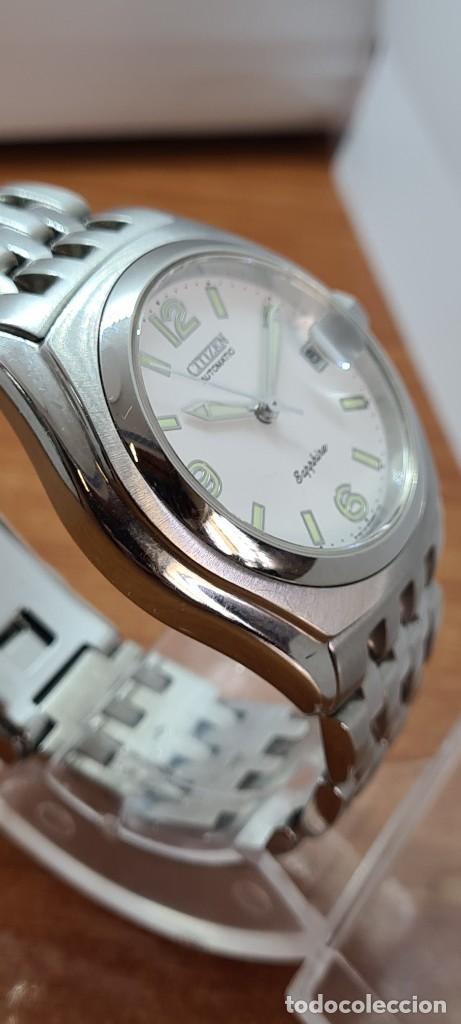 Relojes - Citizen: Reloj (Vintage) CITIZEN automático acero con máquina vista, esfera blanca, calendario, correa acero. - Foto 8 - 284402723