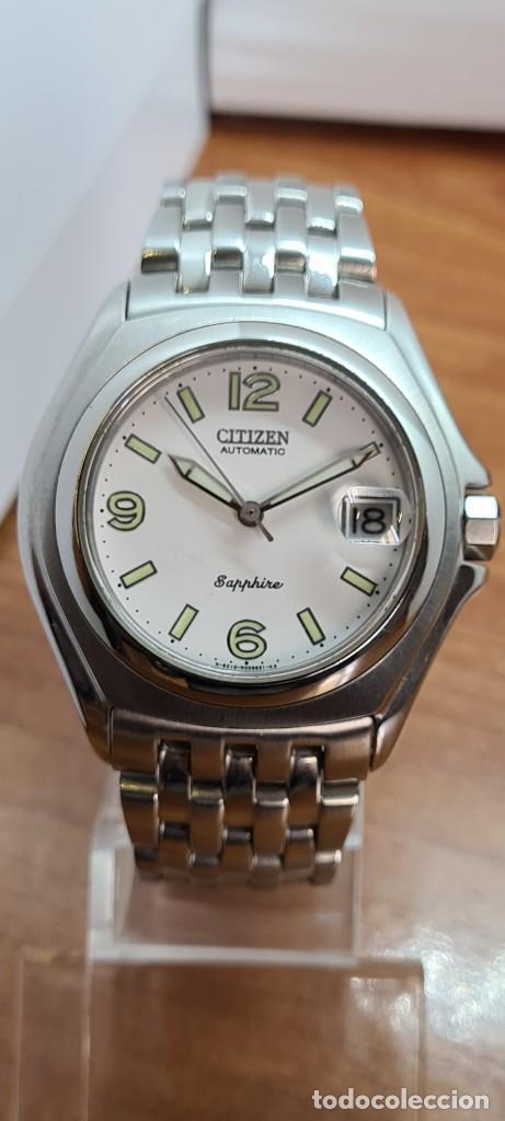 Relojes - Citizen: Reloj (Vintage) CITIZEN automático acero con máquina vista, esfera blanca, calendario, correa acero. - Foto 10 - 284402723