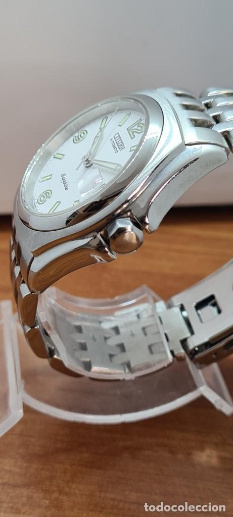 Relojes - Citizen: Reloj (Vintage) CITIZEN automático acero con máquina vista, esfera blanca, calendario, correa acero. - Foto 11 - 284402723