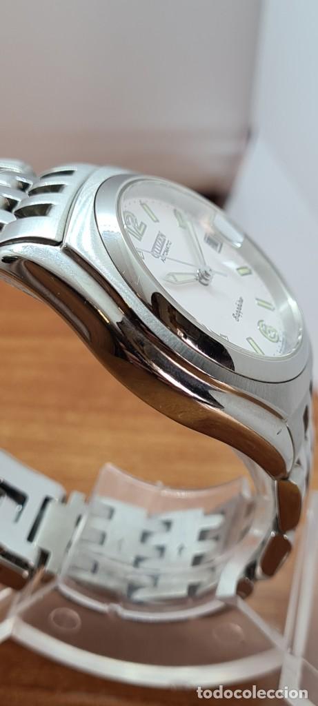 Relojes - Citizen: Reloj (Vintage) CITIZEN automático acero con máquina vista, esfera blanca, calendario, correa acero. - Foto 12 - 284402723