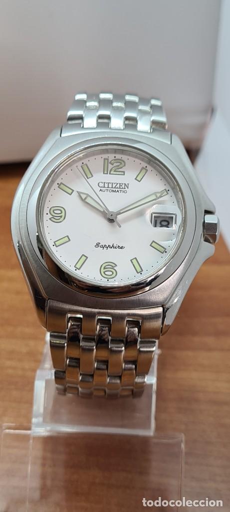 Relojes - Citizen: Reloj (Vintage) CITIZEN automático acero con máquina vista, esfera blanca, calendario, correa acero. - Foto 13 - 284402723