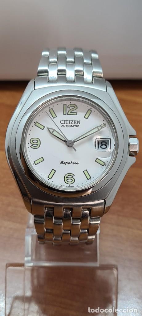 Relojes - Citizen: Reloj (Vintage) CITIZEN automático acero con máquina vista, esfera blanca, calendario, correa acero. - Foto 15 - 284402723