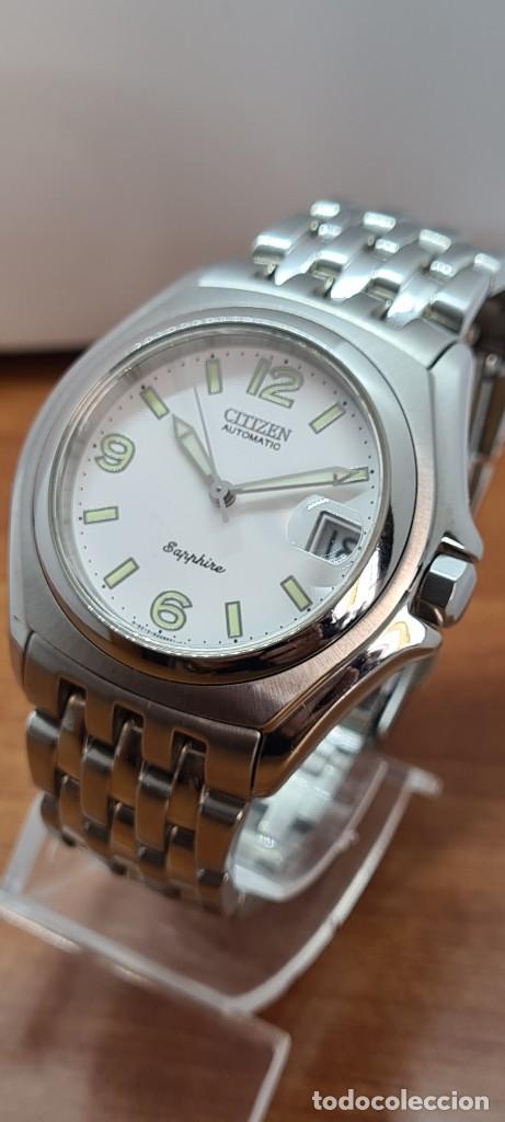 Relojes - Citizen: Reloj (Vintage) CITIZEN automático acero con máquina vista, esfera blanca, calendario, correa acero. - Foto 16 - 284402723