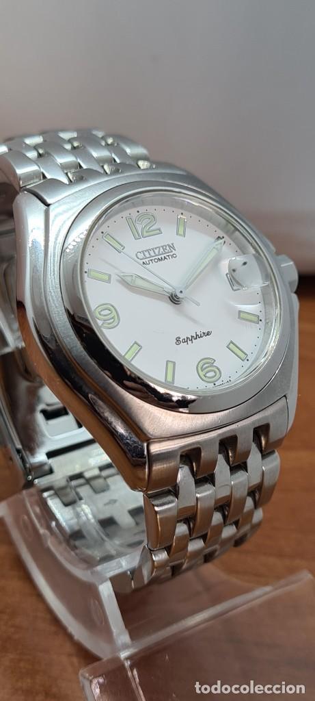 Relojes - Citizen: Reloj (Vintage) CITIZEN automático acero con máquina vista, esfera blanca, calendario, correa acero. - Foto 17 - 284402723