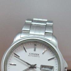 Relojes - Citizen: RELOJ CABALLERO (VINTAGE) CITIZEN AUTOMÁTICO ACERO, ESFERA BLANCA, DOBLE CALENDARIO, CORREA ORIGINAL. Lote 284416108