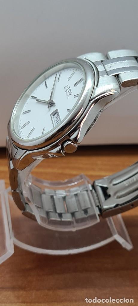 Relojes - Citizen: Reloj caballero (Vintage) CITIZEN automático acero, esfera blanca, doble calendario, correa original - Foto 2 - 284416108