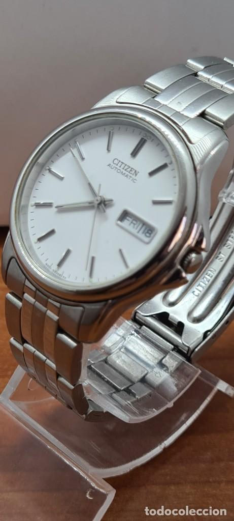 Relojes - Citizen: Reloj caballero (Vintage) CITIZEN automático acero, esfera blanca, doble calendario, correa original - Foto 5 - 284416108