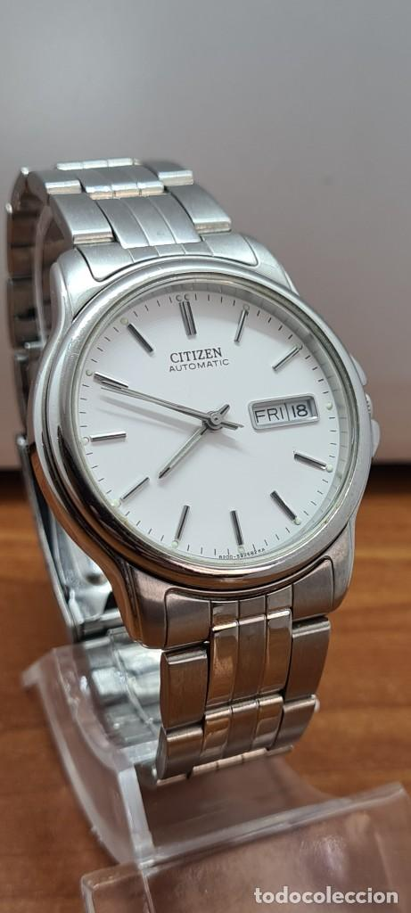 Relojes - Citizen: Reloj caballero (Vintage) CITIZEN automático acero, esfera blanca, doble calendario, correa original - Foto 6 - 284416108