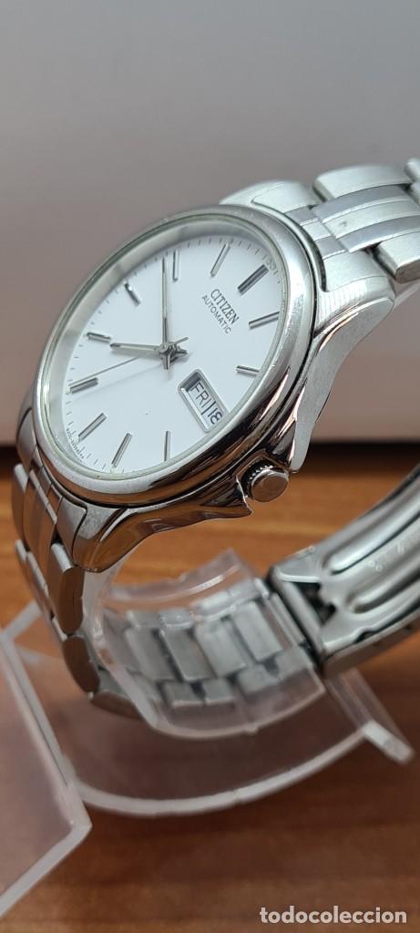 Relojes - Citizen: Reloj caballero (Vintage) CITIZEN automático acero, esfera blanca, doble calendario, correa original - Foto 7 - 284416108