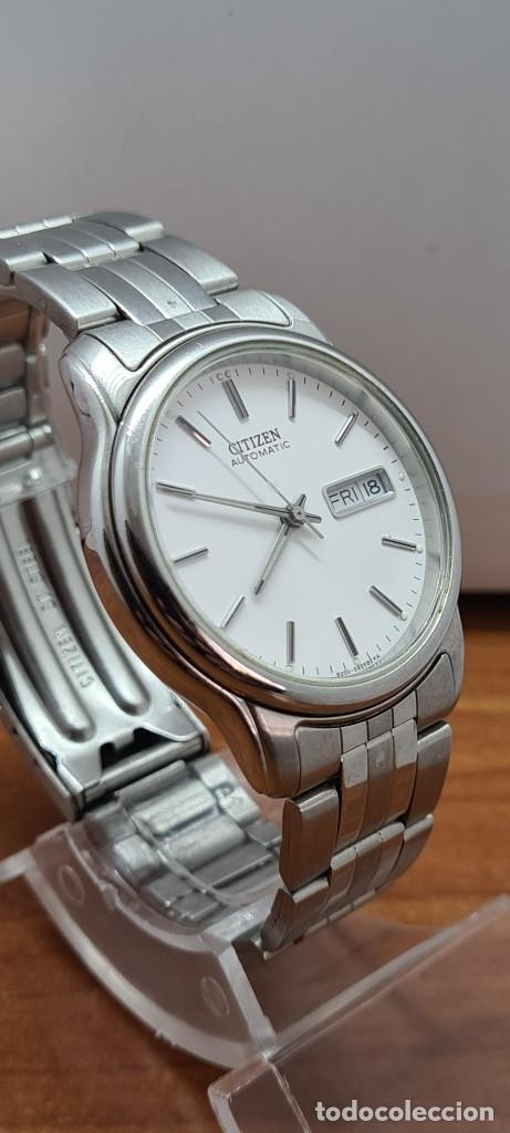 Relojes - Citizen: Reloj caballero (Vintage) CITIZEN automático acero, esfera blanca, doble calendario, correa original - Foto 8 - 284416108