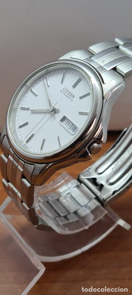 Relojes - Citizen: Reloj caballero (Vintage) CITIZEN automático acero, esfera blanca, doble calendario, correa original - Foto 9 - 284416108