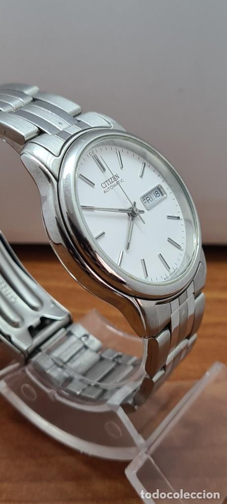 Relojes - Citizen: Reloj caballero (Vintage) CITIZEN automático acero, esfera blanca, doble calendario, correa original - Foto 11 - 284416108