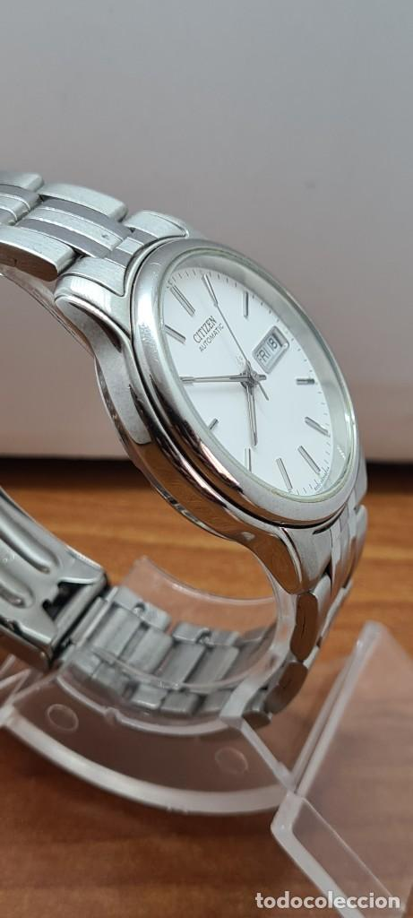 Relojes - Citizen: Reloj caballero (Vintage) CITIZEN automático acero, esfera blanca, doble calendario, correa original - Foto 13 - 284416108