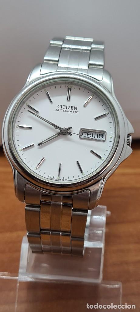 Relojes - Citizen: Reloj caballero (Vintage) CITIZEN automático acero, esfera blanca, doble calendario, correa original - Foto 16 - 284416108