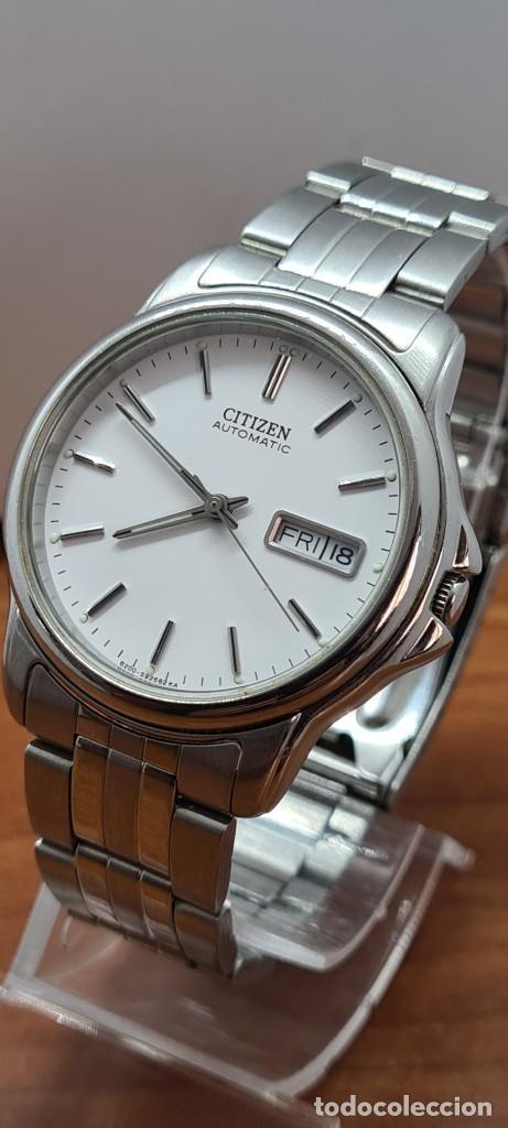 Relojes - Citizen: Reloj caballero (Vintage) CITIZEN automático acero, esfera blanca, doble calendario, correa original - Foto 18 - 284416108