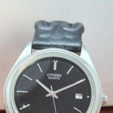 Relojes - Citizen: RELOJ CABALLERO (VINTAGE) CITIZEN ACERO DE CUARZO, CALENDARIO A LAS TRES HORAS, CORREA CUERO NEGRA.. Lote 290699658