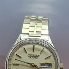 Relojes - Citizen: RELOJ (VINTAGE) CITIZEN CUARZO CHAPADO ORO ESFERA BLANCA, DOBLE CALENDARIO LAS TRES, CORREA ORIGINAL. Lote 291207463