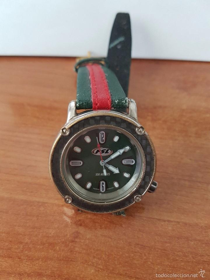 Relojes - Fossil: Reloj de caballero marca FSL (Fossil) de cuarzo con correa de cuero - Foto 4 - 58217648