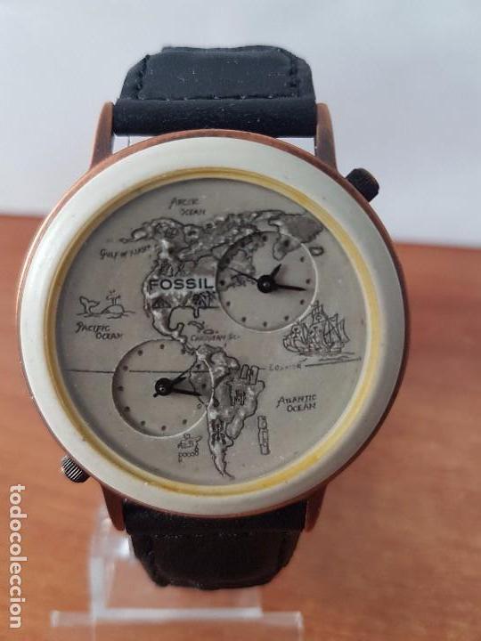 RELOJ DE CABALLERO FOSSIL AUTÉNTICO MAPA DEL PACIFICO DIAL HORA GMT CALIBRE. BW – 6736. CORREA CUERO (Relojes - Relojes Actuales - Fossil)