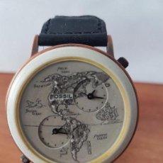 Relojes - Fossil: RELOJ DE CABALLERO FOSSIL AUTÉNTICO MAPA DEL PACIFICO DIAL HORA GMT CALIBRE. BW – 6736. CORREA CUERO. Lote 142081669