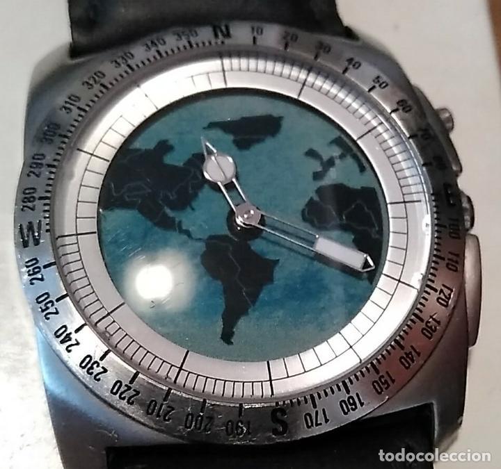 RELOJ FOSSIL BIG TIC BG 2059 SE MUEVE EL MAPA DEL MUNDO RARO (Relojes - Relojes Actuales - Fossil)