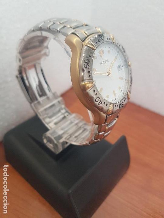 Relojes - Fossil: Reloj caballero FOSSIL cuarzo, caja acero y bicolor bisel fijo, esfera blanca, calendario, pulsera - Foto 5 - 154699798