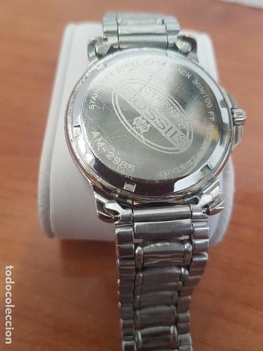 Relojes - Fossil: Reloj caballero FOSSIL cuarzo, caja acero y bicolor bisel fijo, esfera blanca, calendario, pulsera - Foto 9 - 154699798