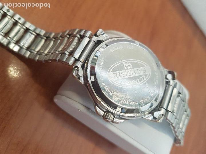 Relojes - Fossil: Reloj caballero FOSSIL cuarzo, caja acero y bicolor bisel fijo, esfera blanca, calendario, pulsera - Foto 11 - 154699798