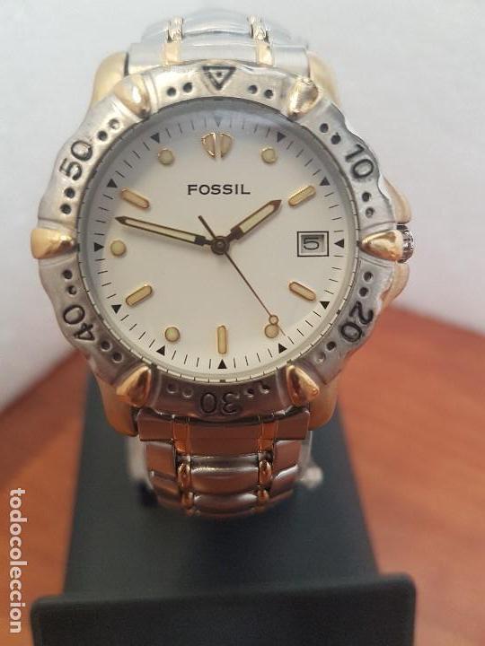 RELOJ CABALLERO FOSSIL CUARZO, CAJA ACERO Y BICOLOR BISEL FIJO, ESFERA BLANCA, CALENDARIO, PULSERA (Relojes - Relojes Actuales - Fossil)