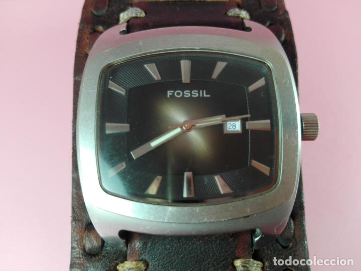 Relojes - Fossil: RELOJ-FOSSIL-PILA-CORREA PIEL ANCHA ORIGINAL,MUÑEQUERA-EXCELENTE ESTADO-PRECIOSO-VER FOTOS - Foto 5 - 178205330