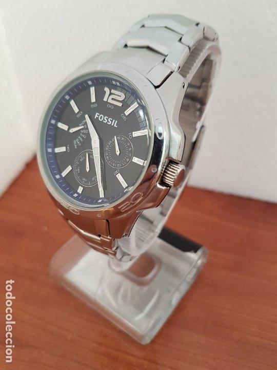 Relojes - Fossil: Reloj caballero cuarzo FOSSIL de acero multifunción con tres subesferas, esfera negra, correa origin - Foto 2 - 178228207