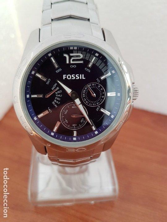 Relojes - Fossil: Reloj caballero cuarzo FOSSIL de acero multifunción con tres subesferas, esfera negra, correa origin - Foto 6 - 178228207