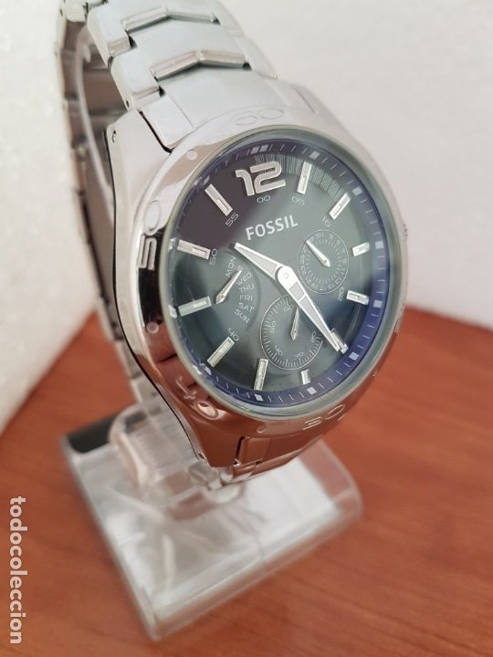 Relojes - Fossil: Reloj caballero cuarzo FOSSIL de acero multifunción con tres subesferas, esfera negra, correa origin - Foto 8 - 178228207