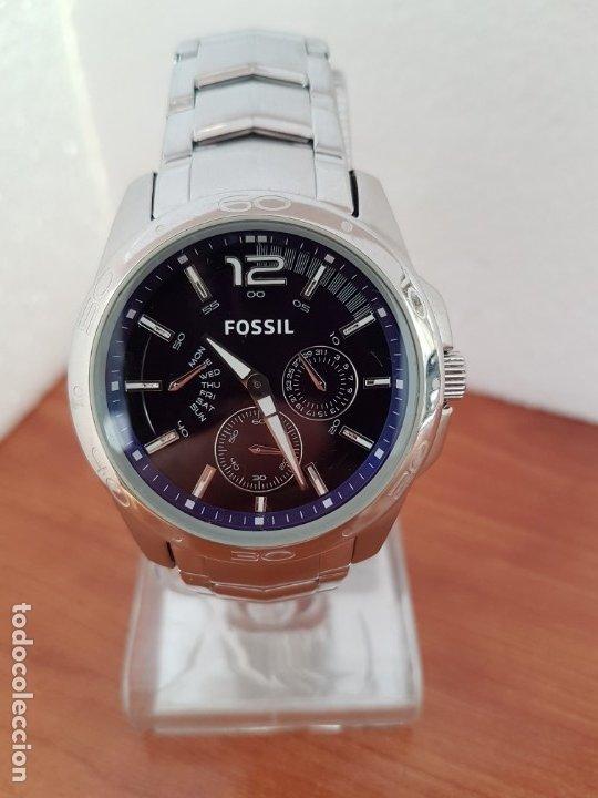 Relojes - Fossil: Reloj caballero cuarzo FOSSIL de acero multifunción con tres subesferas, esfera negra, correa origin - Foto 9 - 178228207