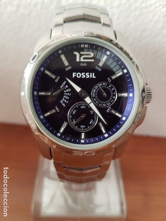 Relojes - Fossil: Reloj caballero cuarzo FOSSIL de acero multifunción con tres subesferas, esfera negra, correa origin - Foto 11 - 178228207
