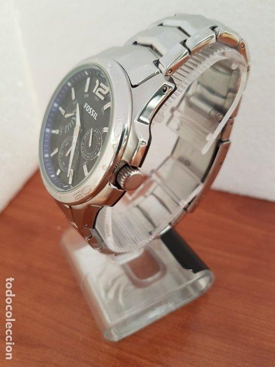Relojes - Fossil: Reloj caballero cuarzo FOSSIL de acero multifunción con tres subesferas, esfera negra, correa origin - Foto 14 - 178228207