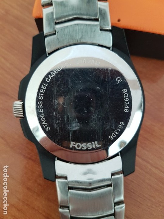 Relojes - Fossil: Reloj caballero cuarzo FOSSIL de acero multifunción con tres subesferas, esfera negra, correa origin - Foto 15 - 178228207